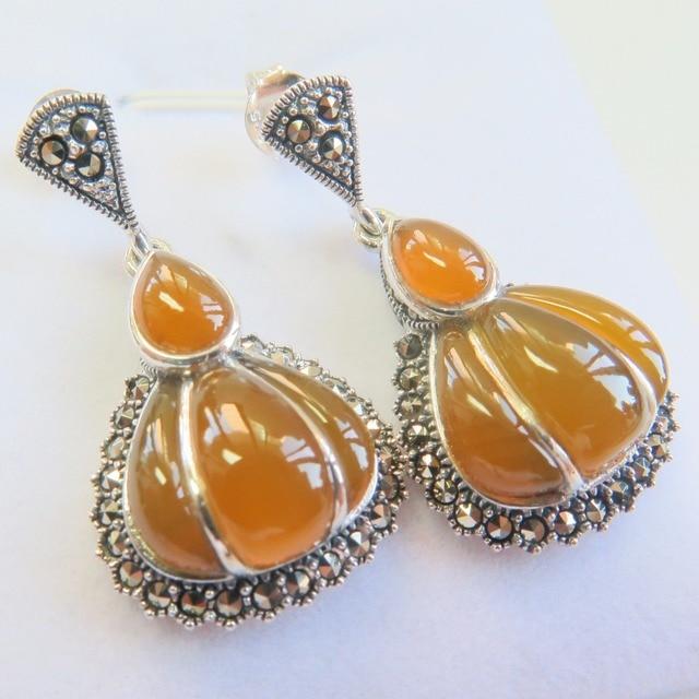 New 925 Sterling Silver With Yellow Jade Pumpkin Dange Earrings Hallmark S925