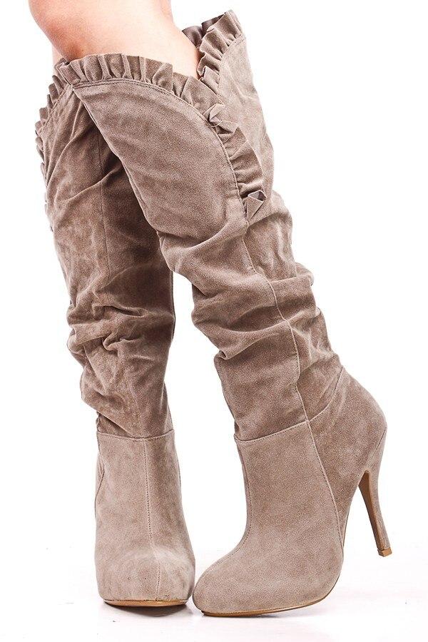 Khaki Suede Women Boots Knee High Ruffled High Heels Custom Round Toe Ladies Long Boots Sapatos Femininos 2015 Plus Size 14