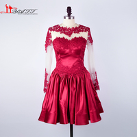 Vestido De Fiesta 2016 Real Photo Wine Red Long Sleeves Lace Appliques Amazing Cheap African Evening