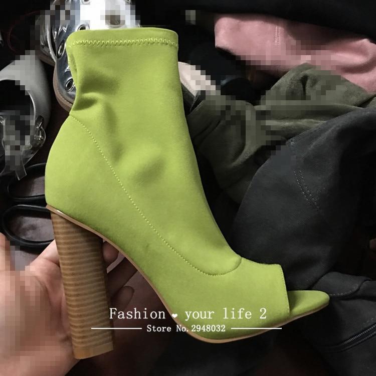 Классические Botas Mujer упругой блок ботильоны на не сужающемся книзу массивном каблуке без застежки с открытым носком Носок 8 видов цветов Лет...