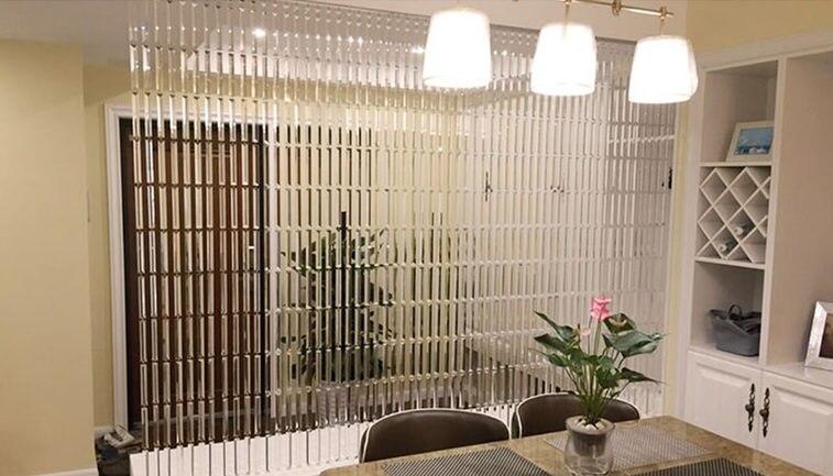 Ligne chaîne cristal verre bande rideau fenêtre porte diviseur pure rideau cantonnière luxe salon chambre mariage décor à la maison - 5