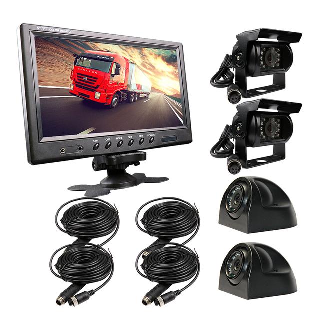ENVÍO LIBRE 12 V-24 V 9 pulgadas LCD Quad Split Monitor Del Coche de $ NUMBER CANALES Kit Vista Frontal Vista Posterior Del Coche de La Cámara de vídeo para el Autobús Camión Van