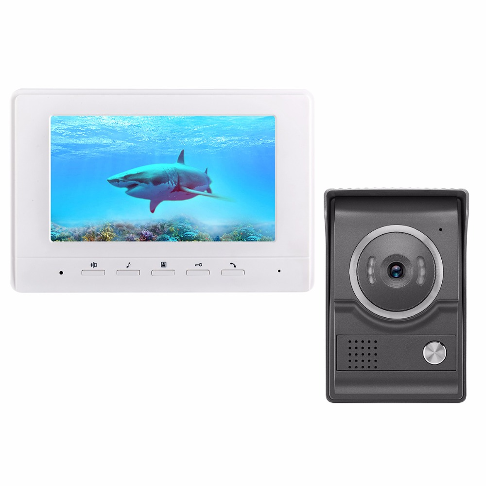 DIYKIT 7inch Video Intercom Video Door Phone 700TV Line IR Night Vision HD Camera for Home Office Factory White