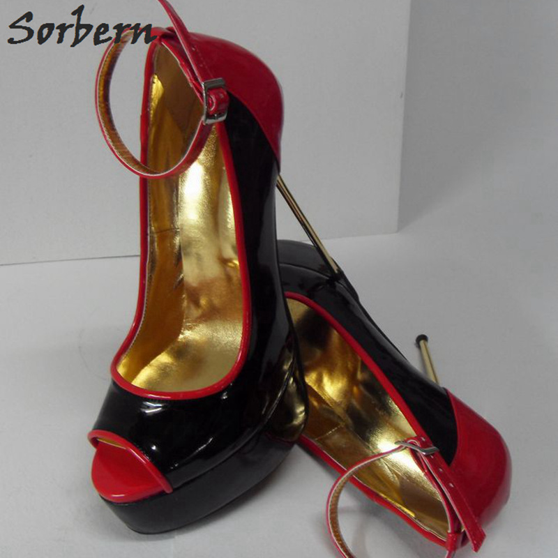 Sorbern 16Cm Gold Steel Heels Shoes Women Pumps Sexy Peep Toe Size 33-52 High Heels Ankle Straps Black And Red Big Size Shoes karinluna new big size 32 43 peep toe summer party shoes women 7 colors sexy 16cm thin high heels fashion red pumps shoes
