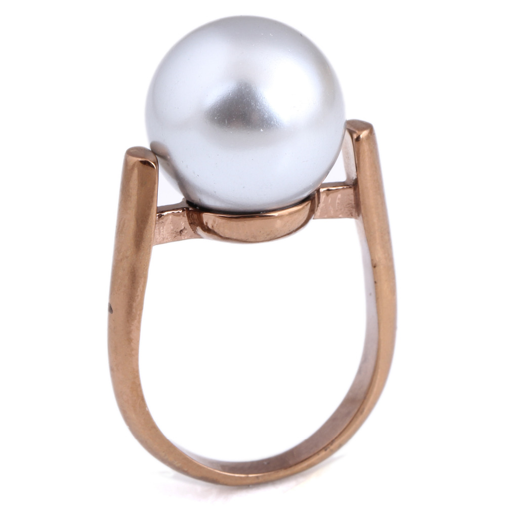 Pearl Wedding Rings: Rose Gold Color Engagement Rings For Women Wedding Jewelry