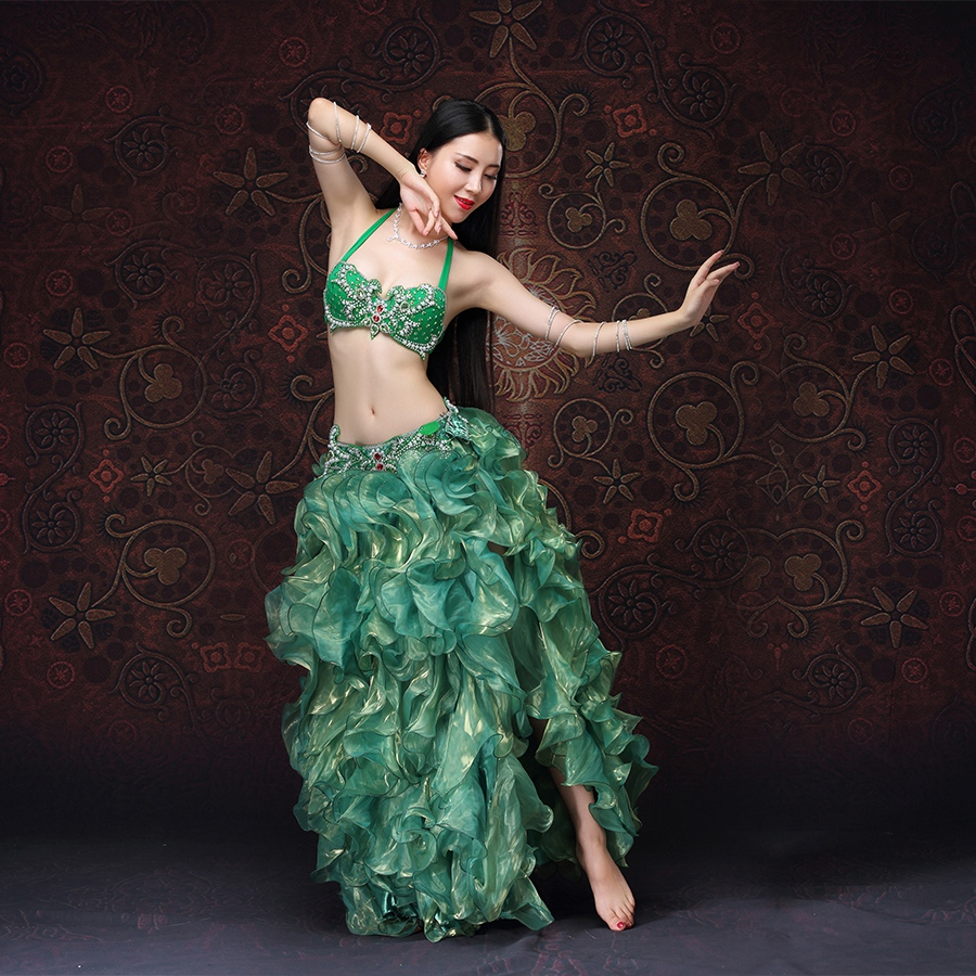NEW!! High Grade Women Dancewear Bellydance Clothes Professional Outfit 2pcs Bra And Skirt Oriental Belly Dance Costume Set