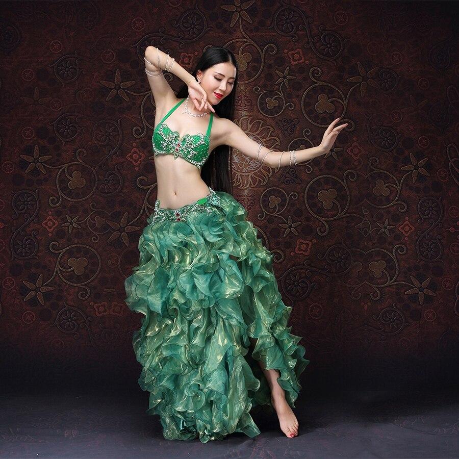 NUOVO!! Donne di alta Qualità Dancewear Bellydance Abbigliamento Attrezzatura Professionale 2 pz Reggiseno e Gonna Set Danza Del Ventre Costume Orientale