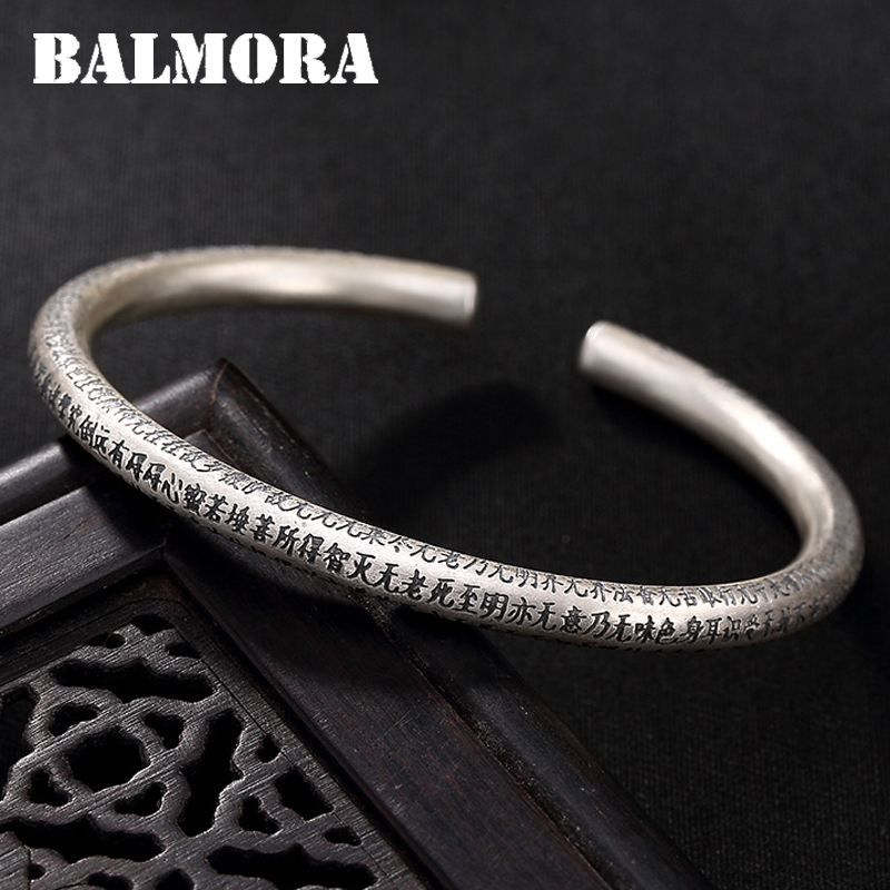 BALMORA Solid 999 Pure Silver Sutra Buddhism Bangles for Women Mother Lover Gift Fashion Jewelry Accessories Esposas JWB5010