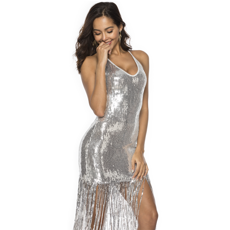 Rose Gold Black Silver Halter Fringe Bodycon Dress
