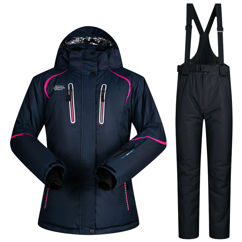 Winter Outdoor women Ski Suit Jacket and Pants High-quality Windproof Waterproof Breathable Thermal Jacket skiing snowboard set gsou snow ski suit for women skiing suit winter outdoor sports clothes snowboard set camouflage ski jacket and pants multicolor