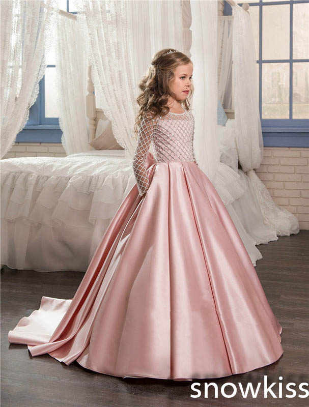 3ef61c7dba8 Light pink bling beads flower girl dresses for wedding bow pageant dress  long train for kids