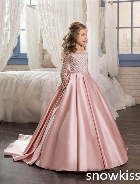 Light Pink Bling perlas vestidos de niña para la boda del arco del ...