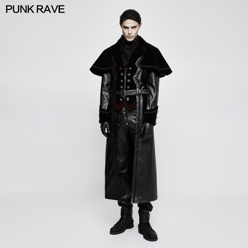 Панк рейв мужские куртки и пальто рок готический косплей мотоциклетный Стиль плащ длинное пальто из искусственной кожи Куртка для выступле...