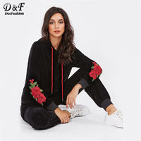 Dotfashion 3D Flower Patch Velvet Hoodie Sweatpants Set 2017 Black Embroidery Pockets Top And Pants Long Sleeve Two Piece Set