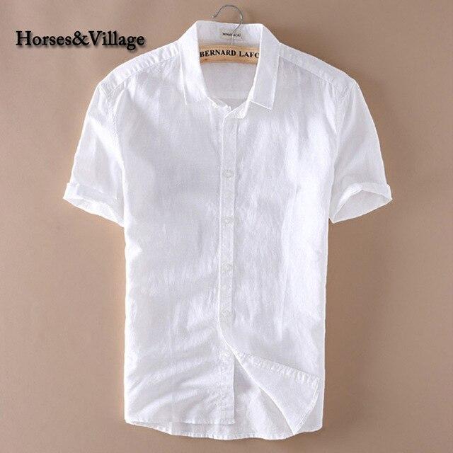 2016 Лето Мужчины 4XL Повседневные Рубашки Твердый Белый С Коротким Рукавом Хлопок Лен Рубашки Camisa Masculina