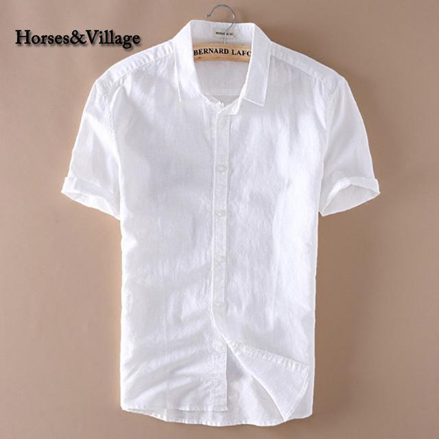 2016 Hombres Del Verano 4XL Camisas Casuales Sólido Blanco de Manga Corta de Algodón Camisas de Vestir Camisa de Lino Masculina