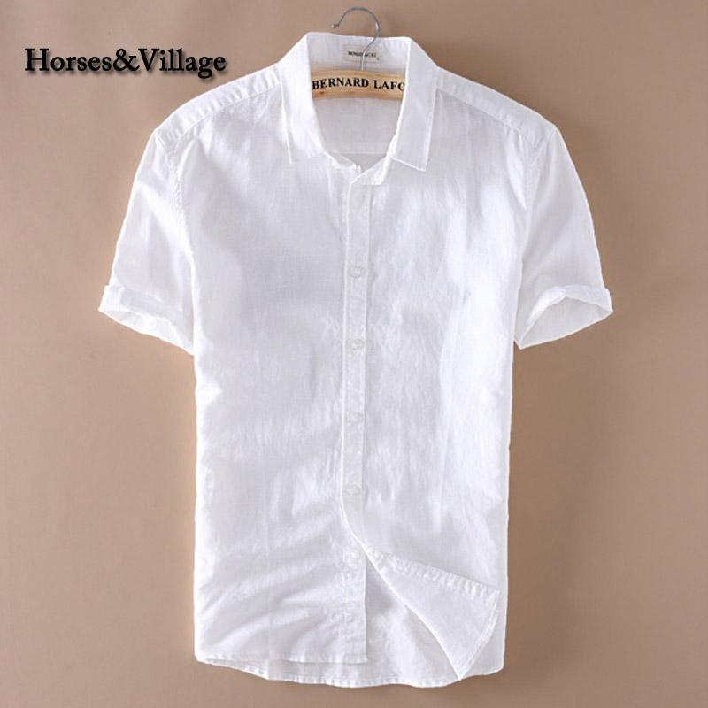 2016 summer men 4xl casual shirts solid white short sleeve for Mens short sleeve white dress shirt