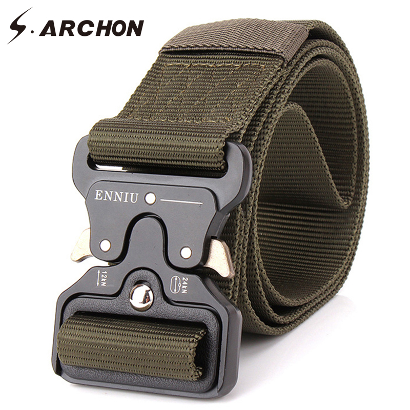 S.ARCHON Military Equipment Tactical   Belt   Men Nylon Knock Off Metal Buckle Army   Belt   Strap Heavy Duty Soldier Combat Waist   Belts