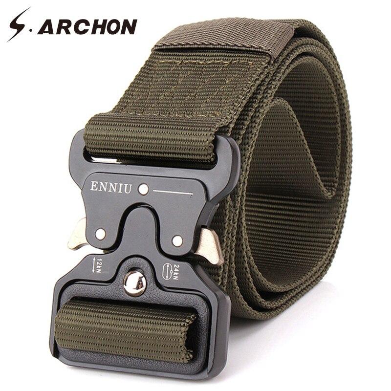 S. arcon equipo militar cinturón táctico de nailon para hombre hebilla de Metal cinturón de ejército Correa resistente soldado cinturón de combate