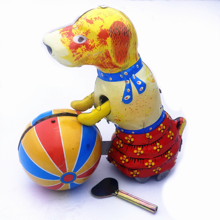 Adult Collection Retro Wind up toy Metal Tin The dog rolled the ball Mechanical Clockwork toy figures model kids christmas gift