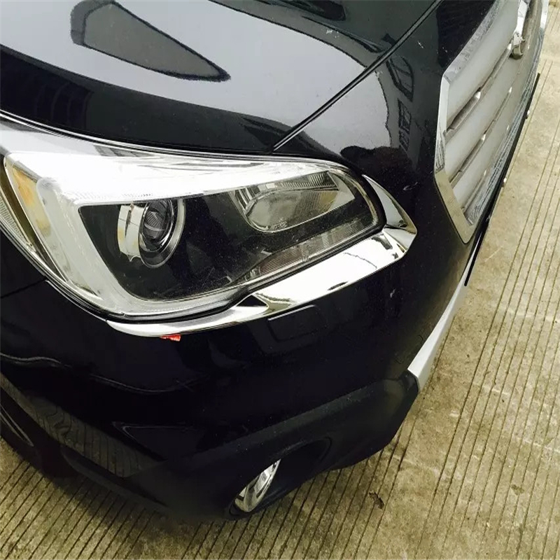 car auto cover styling For Subaru Outback 2014 2015 2016 2017 ABS chrome front head lamp light eyebrow eyelid accessories trim