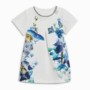 Little Maven Baru Musim Panas Anak-anak Indah Lengan Pendek Putih Bunga Leher O Rajutan 1-6yrs Polyester Gadis Kasual Gaun