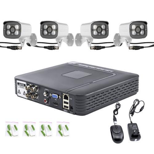 4CH DVR 4pcs 1200tvl HD Bullet CCTV System Camera Waterproof Night Vision Onvif