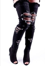 Sexy Blue Denim Women High Boots Peep Toe Ripped Cut-out Over The Knee Thigh High Boots Plus Size 43 Ridding Boots Customized jeans denim gladiator fringe blue over the knee high thigh high autumn boots sexy open toe chunky heel women boots