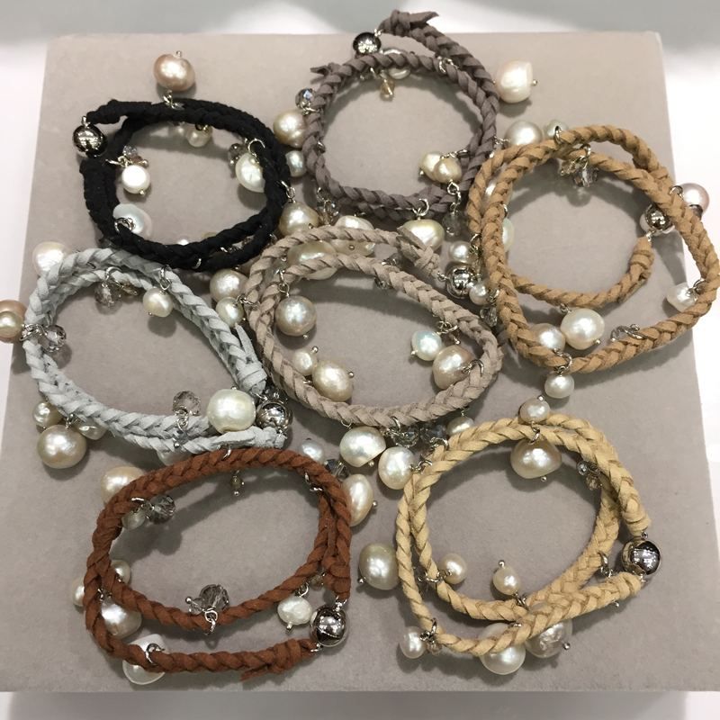 Wholesale baroque natural fresh water pearl bracelet charms with wholesale baroque natural fresh water pearl bracelet charms with crystal leather bracelet casual mix order free shipping in charm bracelets from jewelry mozeypictures Gallery