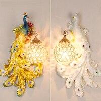 настенные светильники для спальни Юго Восточной Павлин Кристалл лампы сад отель спальня ночники KTV освещение коридора гостиной фон бра Нас