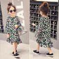 free shipping 2016 spring new korea girl dress Irregular dress flare sleeve princess dress leopard print suit 2-7T children robe