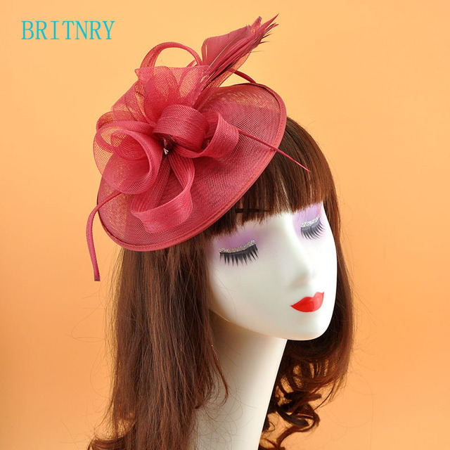 BRITNRY New Arrivals Cheap Wedding Hats Flowers with Feather Bridal Hat Pink  Blue Burgundy Hair Fascinators for Weddings 9d6fd6f3272