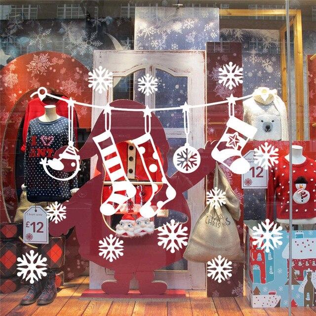 2018 Новый год украшения Рождество стены стикеры s окна стекло Праздничные наклейки фрески Snowflowers Санта стильный Рождественский стикер