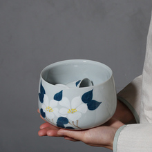 PINNY 800ML Hand Painted Camellia Tea Wash Bowls Ceramic Chinese Kung Fu Ceremony Accessories Handmade Service