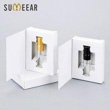Cajas de papel personalizables con atomizador y botella de cristal para Perfume, paquete de Perfume vacío personalizado, venta al por mayor, 100 unids/lote, 3ML