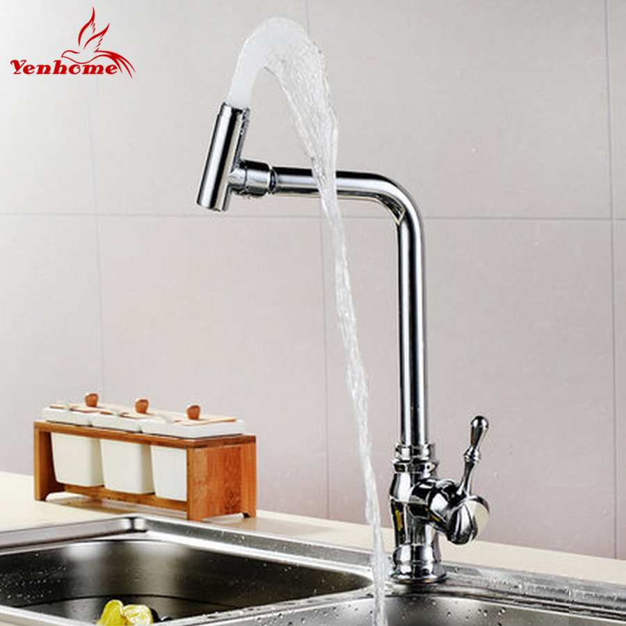 Yenhome New Chrome Brass Hot and Cold Water Mixer Tap Kitchen Sink Mixer Faucets 360 Degree Rotation Swivel Spout Kitchen Faucet 360 swivel solid brass spring kitchen faucet sink mixer tap swivel spout mixer tap hot and cold water torneira page 1