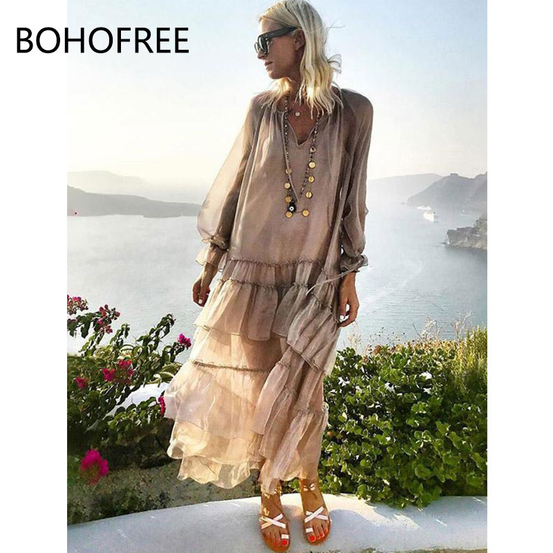 BOHOFREE Solid Color Falbala V neck See Through Maxi Dress Ruffles Long Sleeve Holiday Beach Hippie Verstidos Femmes