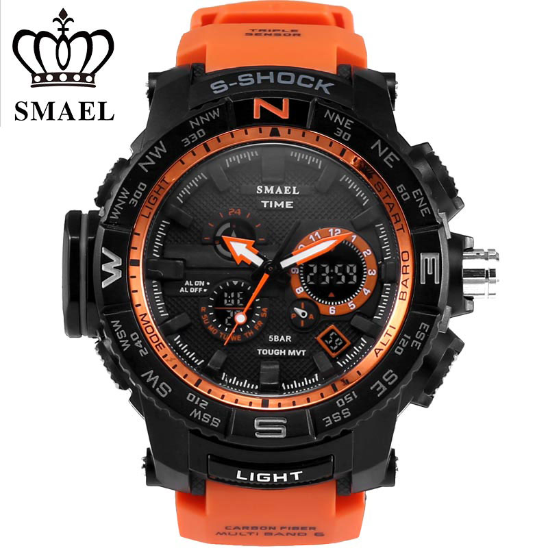 SMAEL Fashion Casual Sports Watch LED Colorful Outdoor 5ATM water resistant For Young People Black Silicone Digital Wrist Watch