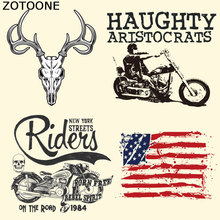 ZOTOONE Motorcycle Patches Iron on Heat Transfer for Kid Clothing Flag Punk DIY Stripes Applique T-shirt Custom Sticker
