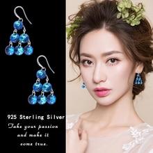 Warme Farben 2019 Crystal from swarovski Drop Earrings 925 Sterling Silver Zircon Earring Fine Jewelry Birthday Gifts for Ladies
