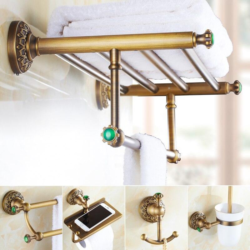 emerald brass green stone bathroom hardware set antique carved brushed bathroom hardware accessories shelf combination sets
