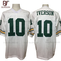 BONJEAN Cheap Allen Iverson 10 Bethel High School Bruins White American Football Jerseys Throwback Stitched Mens