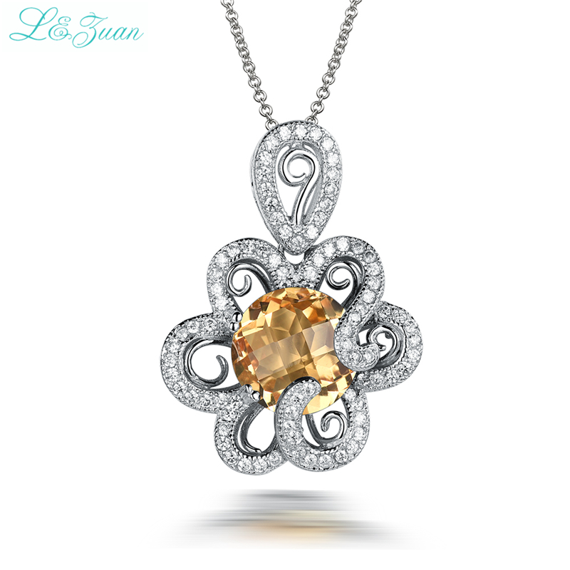 I&zuan 925 Silver Citrine Woman Pendant Necklaces Trendy Luxury 4.81ct Natural Gemstones Flower Fine Jewelry Party Gift