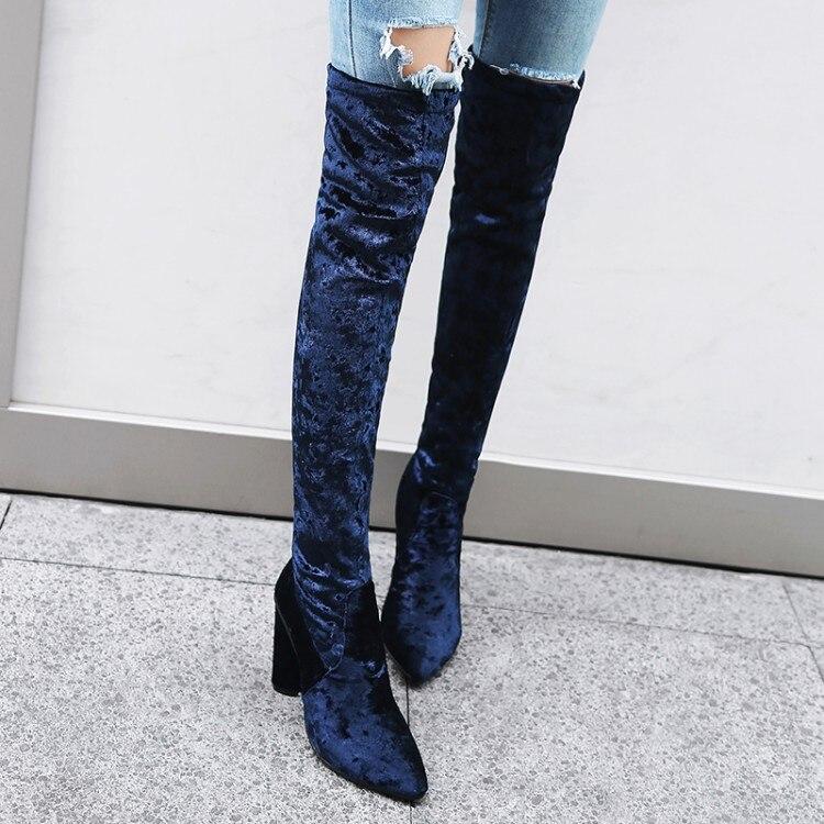 где купить  SALCXOI  winter boots women fashion flock short plush pointed toe slip-on black super high heels knee high boots woman &755-7  по лучшей цене