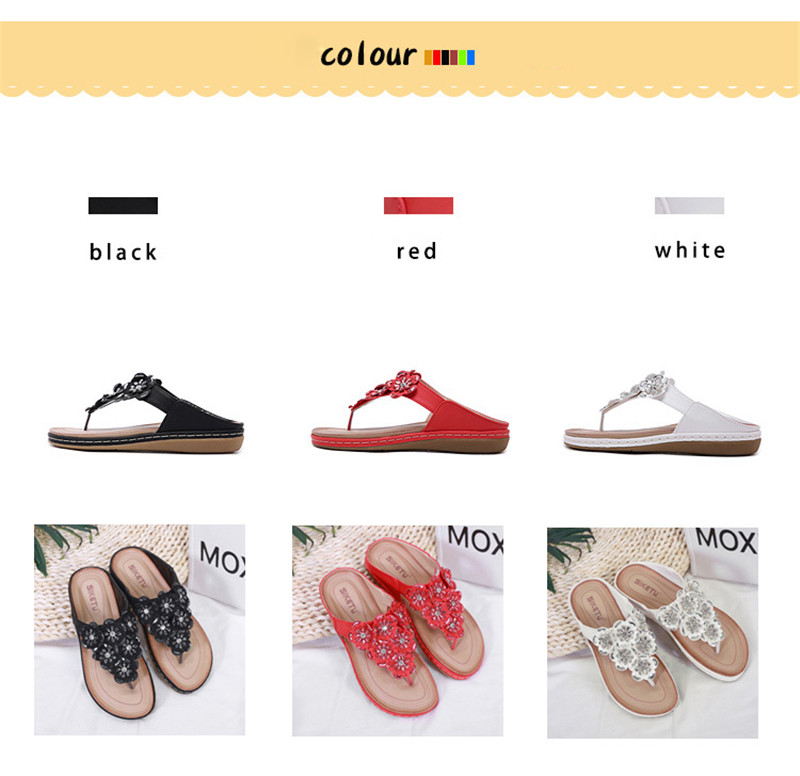 New 2019 ethnic women`s sandals cross-border bohemian rhinestones large size comfortable flat shoes beach shoes (2)