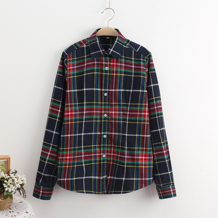 2018 Fashion Plaid Shirt Female College Style Women's Blouses Long Sleeve Flannel Shirt Plus Size Casual Blouses Shirts M-5XL 29