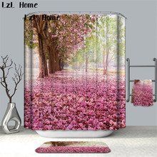 LzL Home Flower Waterproof Shower Curtain Polyester Fabric Bath Bathing Bathroom Curtains With 12 Hooks For Decorations