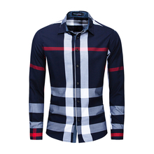 2019 Mens Fashion New Plaid Shirt Casual Business Long-sleeved Cotton Color Matching