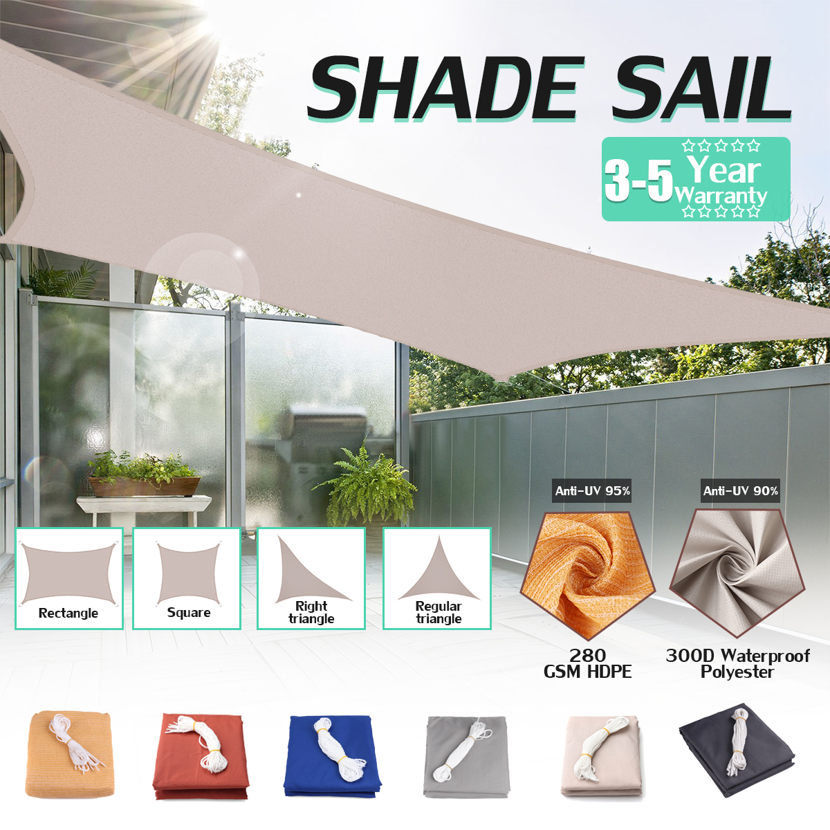 280GSM HDPE Farbic Square 5x5m/4x4m Sun Shade Sail Sunshading Nets 4x4m for Garden Cover Flowers Plants Patio Lawn shelterlogic 25726 12 ft 3 7 m square shade sail evergreen 230 gsm