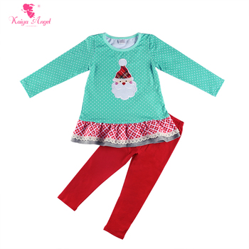 Kaiya Angel New Arrival Autumn Baby Girls Christmas Clothing Set Santa Claus Applique Top Red Cotton Pants Factory Wholesale